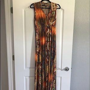 Gorgeous colorful MAXI dress v-neck sleeveless M/L